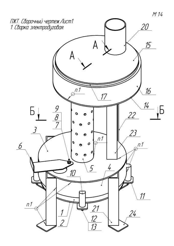 Печка на отработке своими руками: чертежи, видеоинструкции