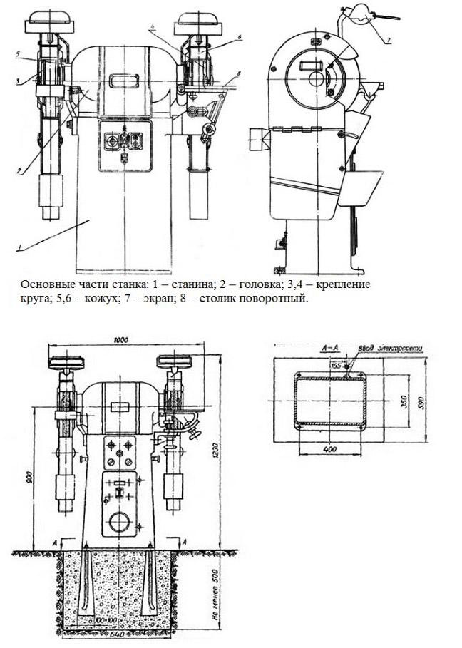 3к634 станок заточной — технические характеристики