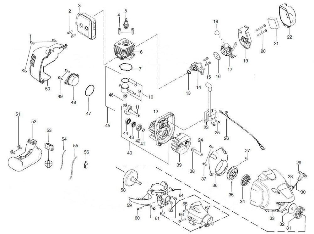 Как разобрать триммер бензиновый partner b250b
