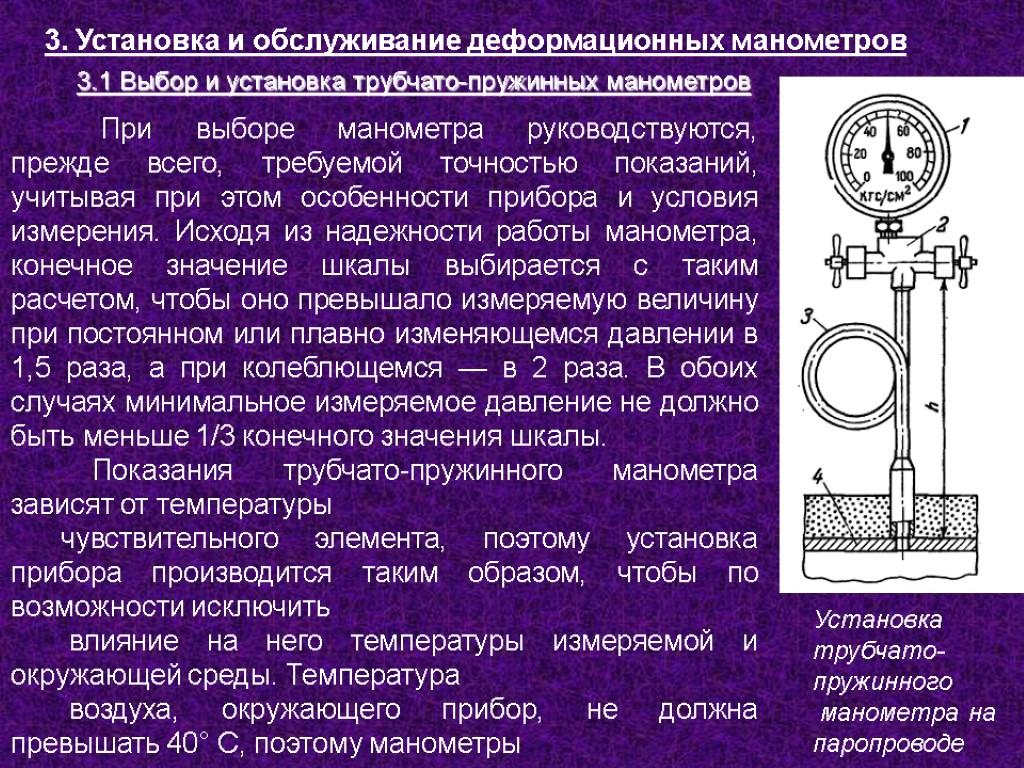 Установка манометра: правила и требования: правила, требования, схема