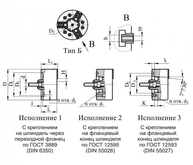 Основные размеры патрона самоцентрирующегося трехкулачкового