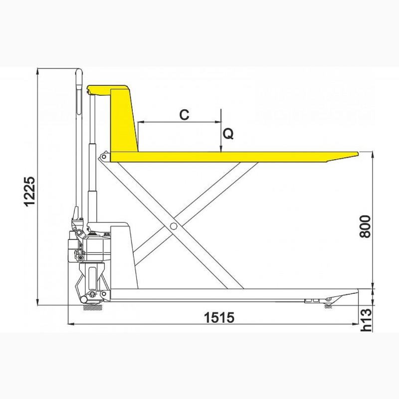 Рохля бу с подъёмным механизмом для работы на складе