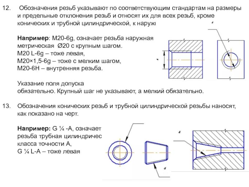 Обозначение и изображение резьбы на чертеже согласно гост