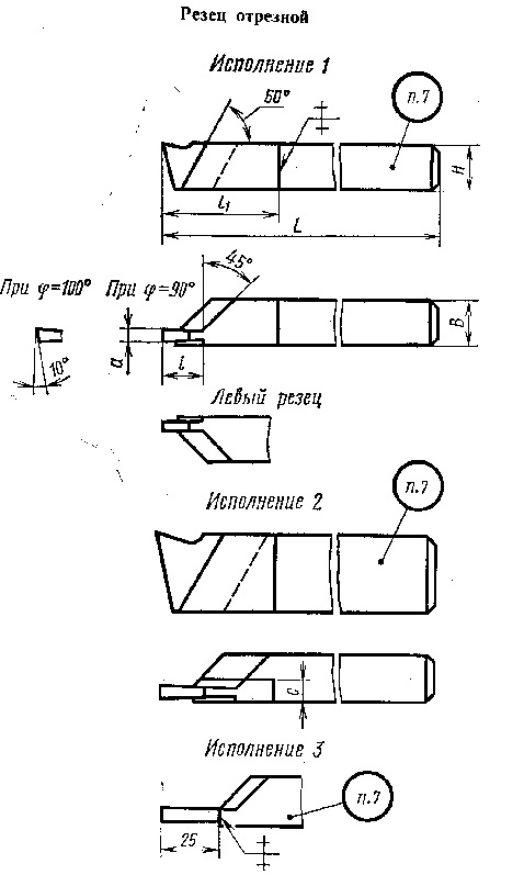 Резец канавочный токарный