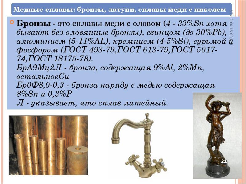 Классификация и маркировка бронзы