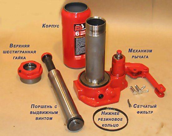 Домкрат гидравлический бутылочный: ремонт, устройство, схема