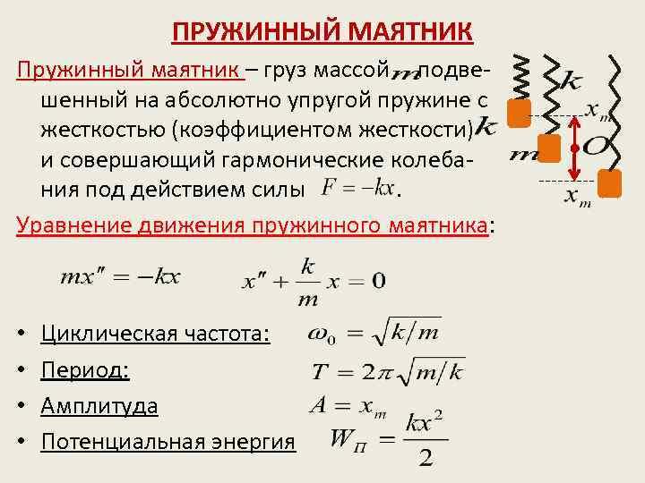 Колебания груза на пружине ️ определение, формулы нахождения периода, частоты и числа колебаний, уравнения, зависимость движения и энергии, решение задач