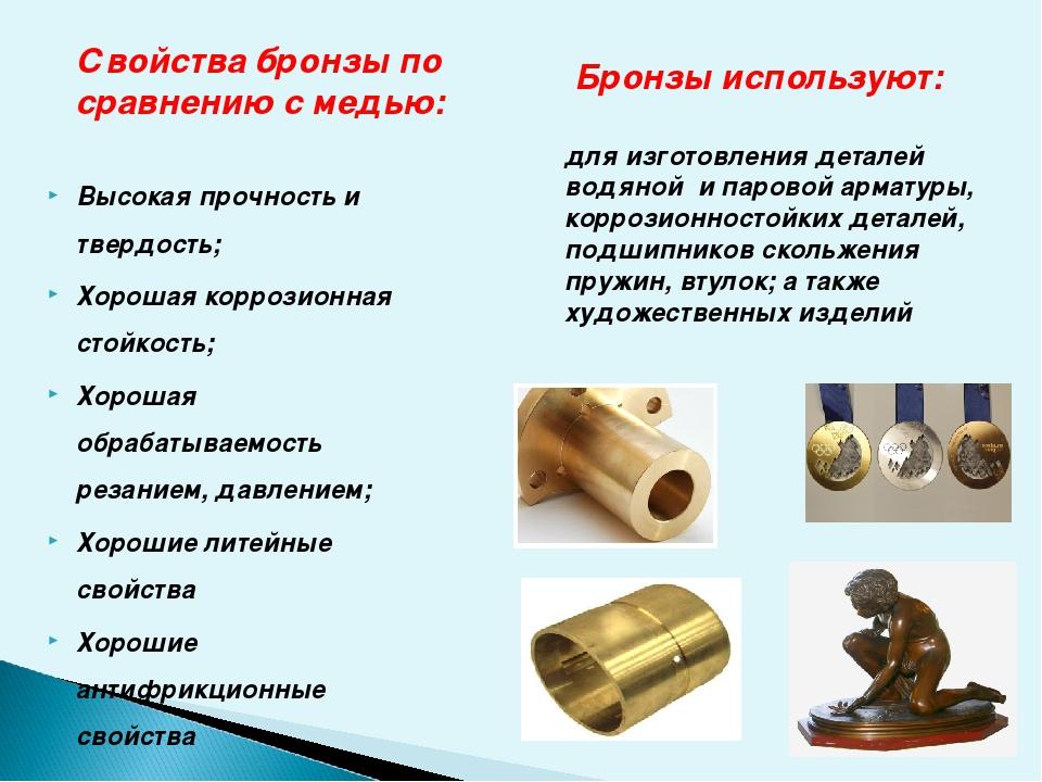 Из чего состоит бронза: состав сплава бронзы, основные свойства и виды, области применения и маркировка