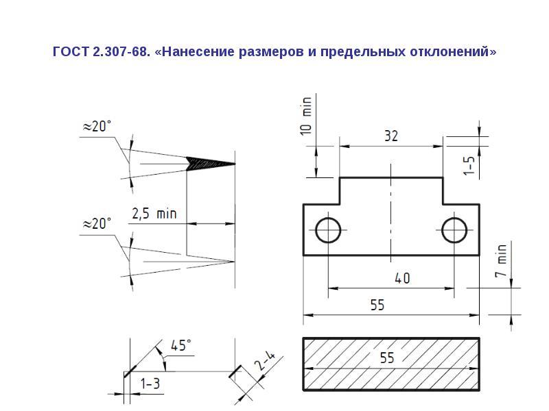 Основные правила нанесения размеров на чертеже / создание чертежей