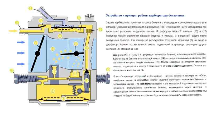 Настройка и устранение неисправностей в работе карбюратора бензопилы