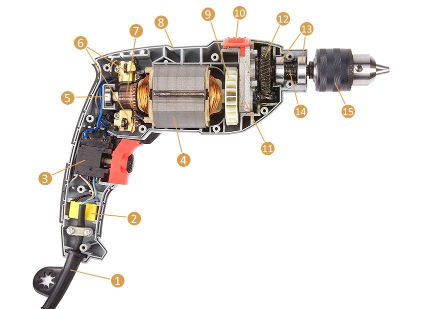 Ремонт дрели: устройство и причины неисправностей, схема подключения электроинструмента