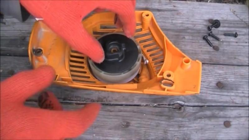 Стартёр для бензопилы: устройство, поломки и ремонт своими руками
