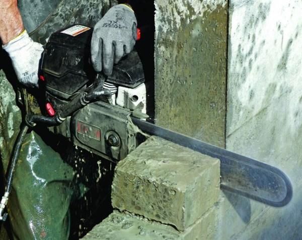 Цепной бензорез. режем камень и бетон!