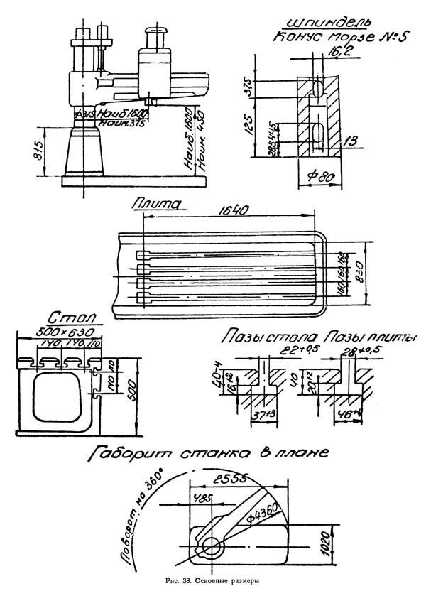Технические характеристики и схема радиально-сверлильного станка 2м55