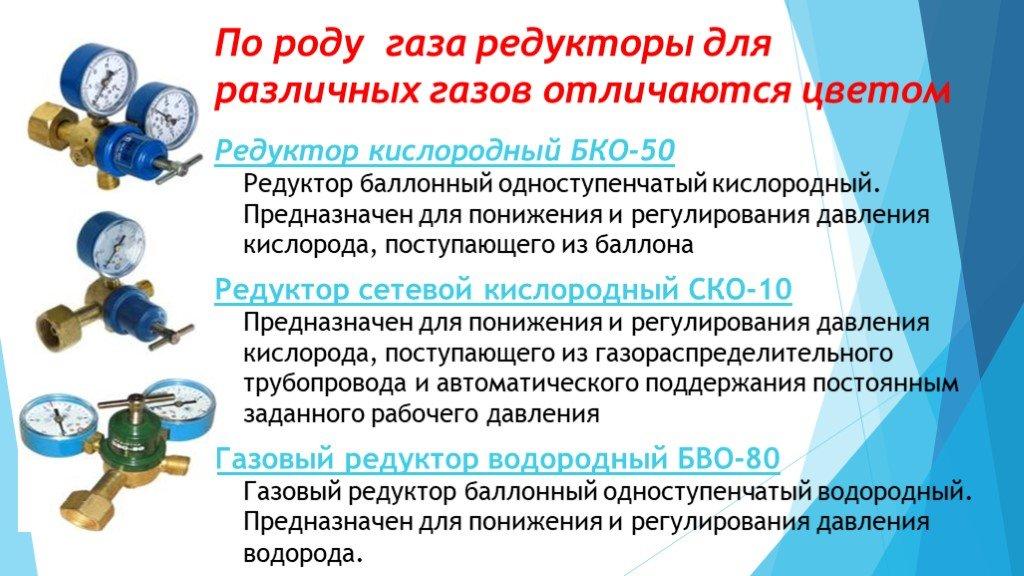 Кислородные редукторы виды и марки