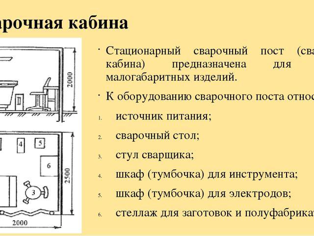 Организации рабочего места сварщика ручной дуговой электросварки