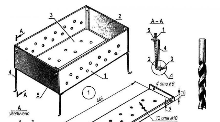Чертеж и сборка стандартного мангала своими руками из железа
