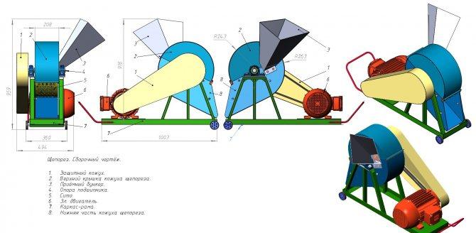 Дробилка для изготовления стружки из щепы и кусковых древесных отходов