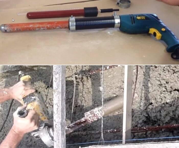 Насадка на перфоратор для вибрирования бетона