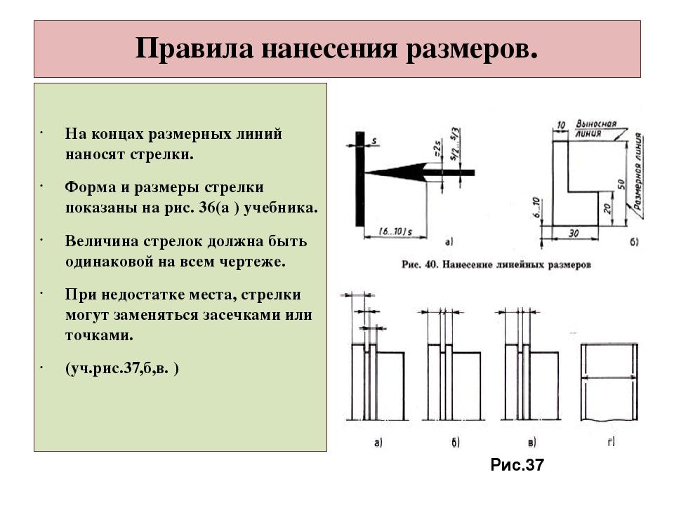 Инженерная графика | лекции | правила нанесения размеров | cadinstructor