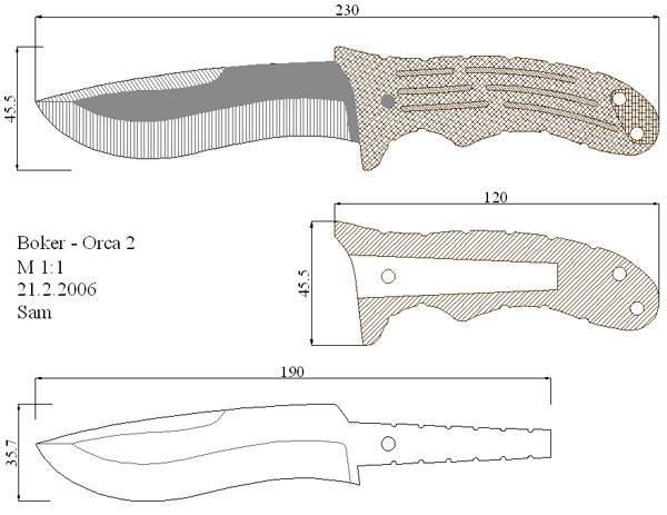 Чертежи ножей для кухонного инструмента и холодного оружия