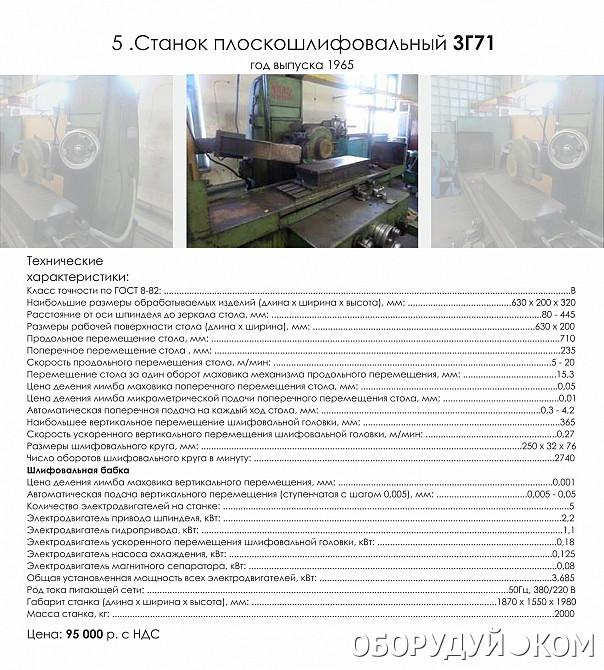 Плоскошлифовальный станок 3г71: технические характеристики