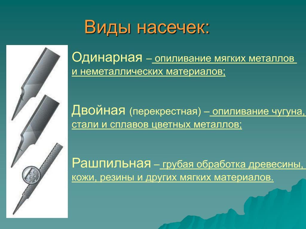 Классификация напильников.