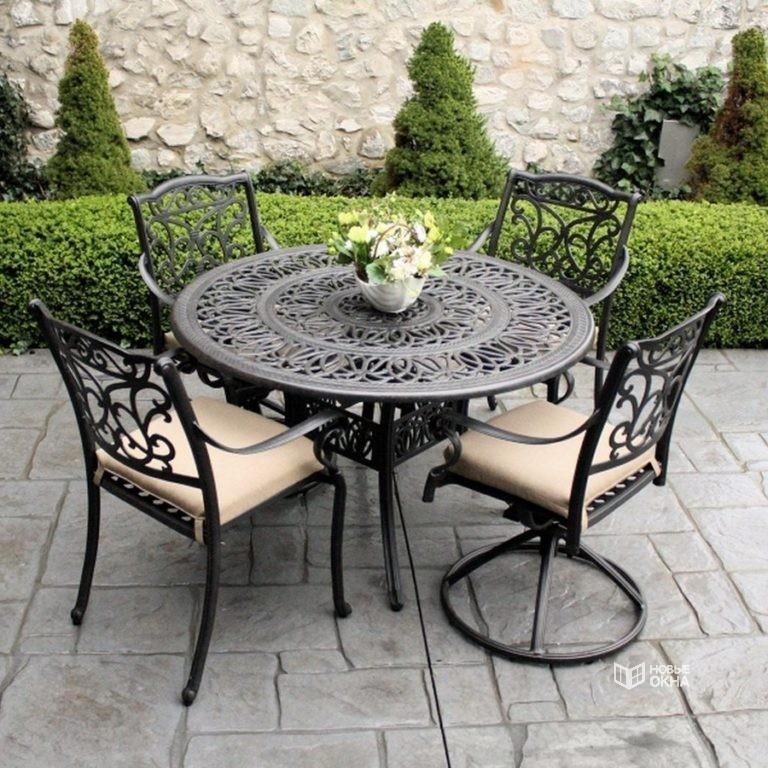 Кованые столы (38 фото): маленькие столики со стеклом, деревянной столешницей и стульями или скамейкой, модели подстолий