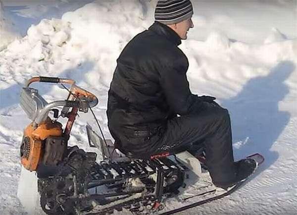 Снегоход — вездеход из бензопилы, велосипеда, и камер от камаза
