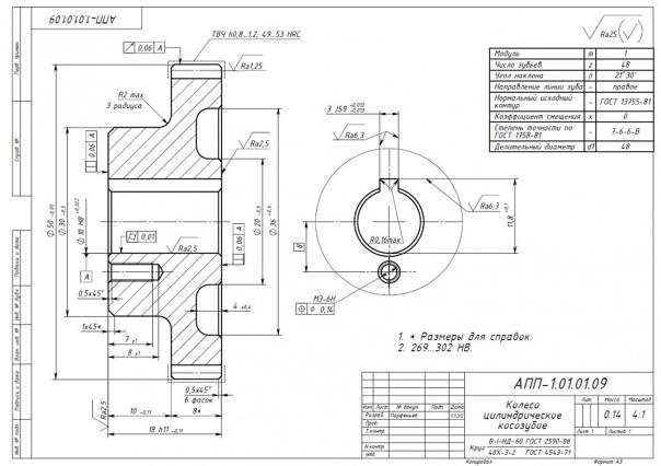 Гост 2.403-68: единая система конструкторской документации. правила выполнения рабочих чертежей цилиндрических зубчатых колес