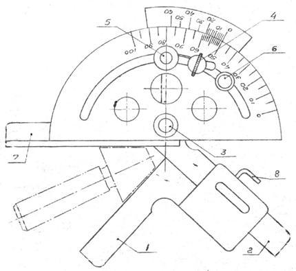 Измерение углов угломером с нониусом