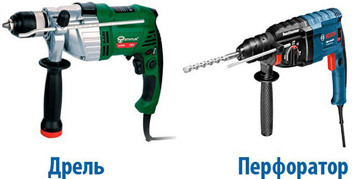 Чем отличается ударная дрель (отличие электродрели, разница) — от обычной безударной, неударной, от перфоратора
