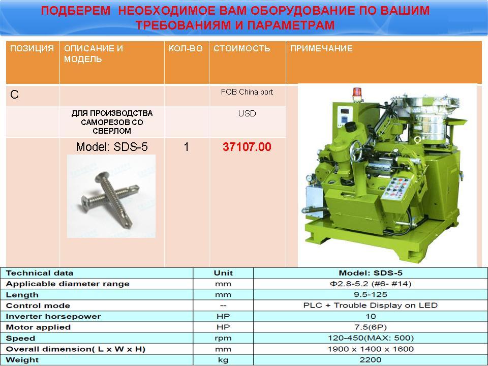 Производство саморезов: перечень оборудования, описание технологии производства, нюансы организации дела