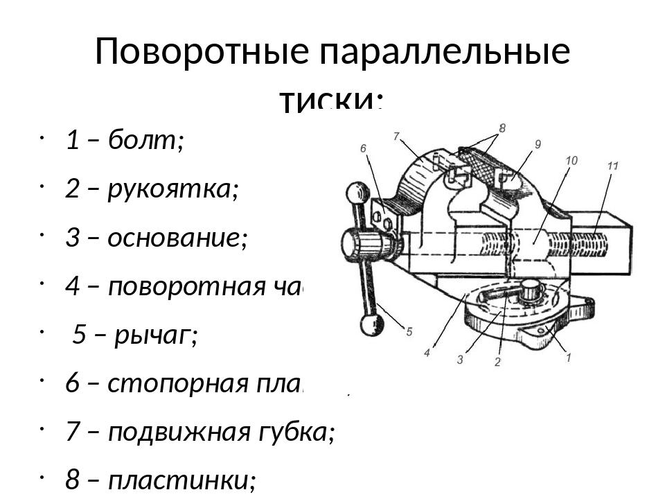 Типы тисков - основные виды слесарных, станочных и др. тисков