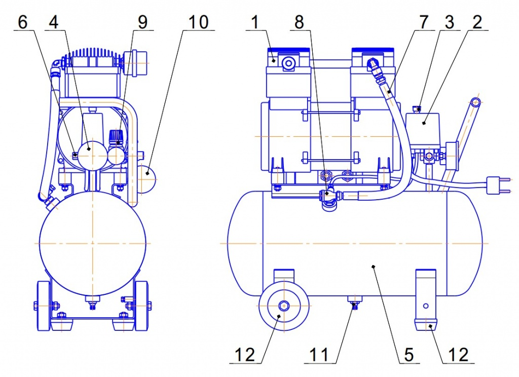 Из чего состоит компрессор воздушный поршневой?