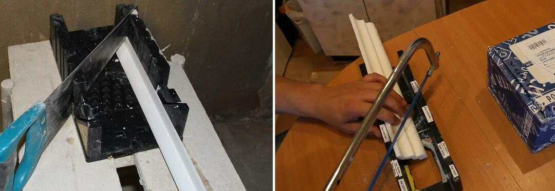 Как резать углы широкого потолочного плинтуса