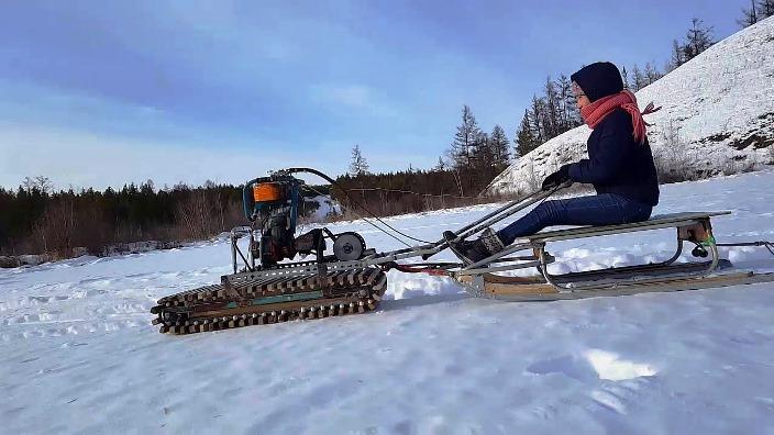 Снегоход из бензопилы как сделать своими руками