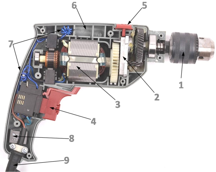 Схема перфоратора с вертикальным расположением двигателя