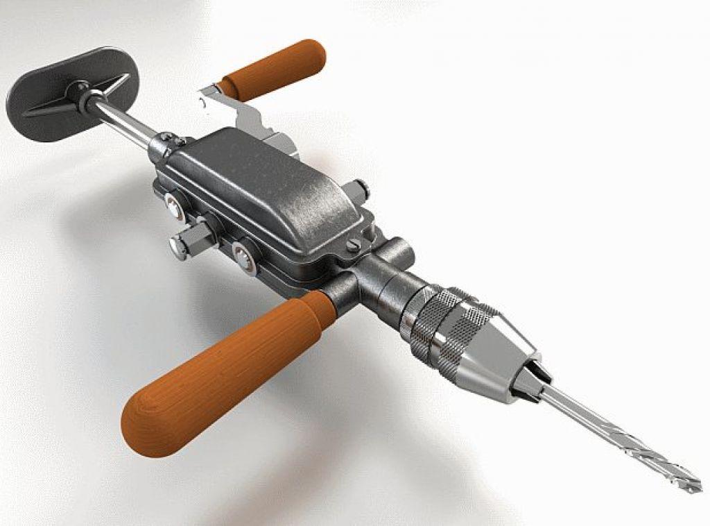 Устройство ручной механической дрели советского образца