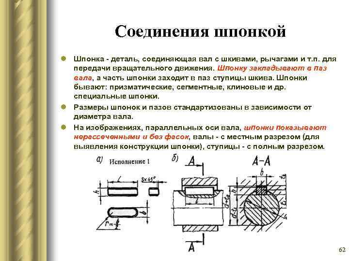 4.1. сборка и разборка шпоночных, шлицевых соединений