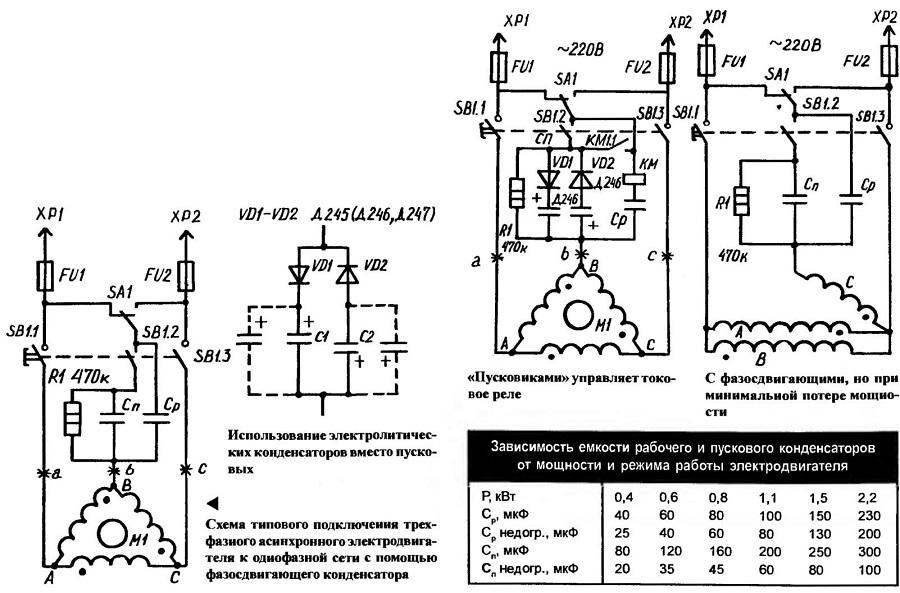 Схема подключения и расчёт пускового конденсатора