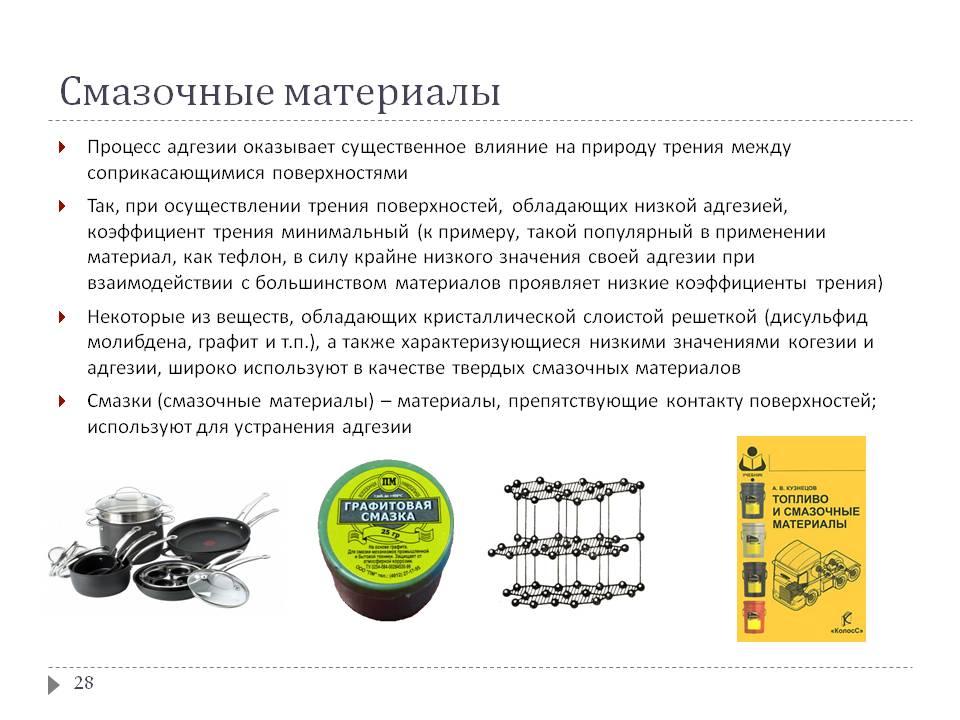 Смазочные материалы: классификация, применение, состав, свойства