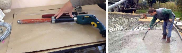 Простой вибратор для уплотнения бетона на перфоратор и дрель